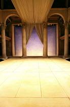 ANTONY AND CLEOPATRA   by Shakespeare   design: Tom Piper   lighting: Stephen Strawbridge   director: Tarell Alvin McCraney ~stage,set,full,empty,column,pillar,curtain,Saint Domingue~A Royal Shakespea...
