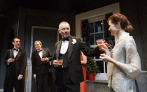 THE WHITE CARNATION   by R. C. Sherriff   design: Alex Marker   lighting: Peter Harrison   director: Knight Mantell   l-r: Ashley Cook (Tony Dale), Philip York (Sir George Wallace), Aden Gillett (Joh...