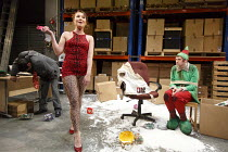 THE NIGHT BEFORE CHRISTMAS   by Antony Neilson   design: Michael Vale   lighting: Malcolm Rippeth   director: Steve Marmion   l-r: Navin Chowdhry (Gary), Rebecca Atkinson (Cherry), Craig Gazey (Elf)...