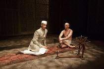 DRAWING THE LINE   by Howard Brenton   design: Tim Hatley   lighting: Rick Fisher   director: Howard Davies ~l-r: Silas Carson (Nehru), Tanveer Ghani (Ghandi) ~Hampstead Theatre (HT), London NW3   09/...