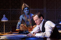 DRAWING THE LINE   by Howard Brenton   design: Tim Hatley   lighting: Rick Fisher   director: Howard Davies ~l-r: Peter Singh (The Lord Krishna), Tom Beard (Cyril Radcliffe)~Hampstead Theatre (HT), Lo...