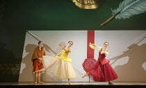CINDERELLA   choreography & direction: David Nixon   set design: Duncan Hayler   costumes: David Nixon & Julie Anderson   lighting: Tim Mitchell ~Sophie & Natasha brandish their invitations to the bal...