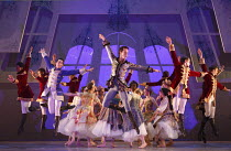 CINDERELLA   choreography & direction: David Nixon   set design: Duncan Hayler   costumes: David Nixon & Julie Anderson   lighting: Tim Mitchell ~the Ball - front left: Giuliano Contadini (Nikolai)...