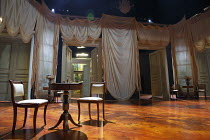 FORTUNE'S FOOL   by Turgenev   in a version by Mike Poulton   design: William Dudley   lighting: Bruno Poet   director: Lucy Bailey   stage,set,empty,interior,Russian.curtains,drapes,door,furniture,t...