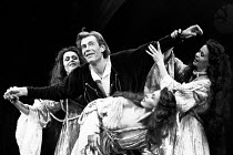 MACBETH  by Shakespeare  design: Bob Crowley  lighting: Brian Harris  director: Bryan Forbes   l-r: Jane Cussons (Witch), Peter O'Toole (Macbeth), Trudie Styler (Witch), Jackie Smith-Wood (Witch) Ol...
