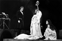 MACBETH   by Shakespeare   design: Bob Crowley   lighting: Brian Harris   director: Bryan Forbes   l-r: Peter O'Toole (Macbeth), Trudie Styler (Witch), Jackie Smith-Wood (Witch) with (foreground) Jan...