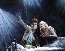 WENDY AND PETER PAN   by Ella Hickson   adapted from the novel by J M Barrie   design: Colin Richmond   lighting: Oliver Fenwick   director: Jonathan Munby ~Cloud Duet: Sam Swann (Peter Pan), Fiona Bu...