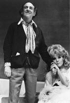 JUMPERS   by Tom Stoppard   set design: Patrick Robertson   costumes: Rosemary Vercoe   lighting: Robert Bryan   director: Peter Wood  Michael Hordern (George Moore), Diana Rigg (Dorothy Moore / Dotti...