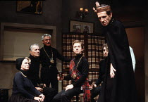 CAHOOT'S MACBETH   by Tom Stoppard   design: Norman Coates   lighting: Howard Eaton   director: Ed Berman  ~left: Ruth Hunt (Lady Macbeth)   centre: Davis Hall (Macduff)   right: Stephen D Newman (Mac...