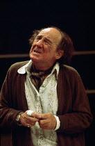 JUMPERS   by Tom Stoppard   set design: Patrick Robertson   costumes: Rosemary Vercoe   lighting: Robert Bryan   director: Peter Wood  ~Michael Hordern (George Moore) ~National Theatre / Old Vic Theat...