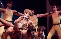 JUMPERS   by Tom Stoppard   set design: Patrick Robertson   costumes: Rosemary Vercoe   lighting: Robert Bryan   director: Peter Wood  Diana Rigg (Dorothy Moore / Dottie) with Jumpers ~National Theatr...