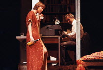 NIGHT AND DAY   by Tom Stoppard   design: Carl Toms   lighting: Robert Bryan   director: Peter Wood ~~Diana Rigg (Ruth Carson), John Thaw (Dick Wagner) ~Phoenix Theatre, London WC2   11/1978 ~(c) Dona...