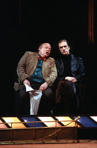 THE REAL INSPECTOR HOUND   by Tom Stoppard   design: Bill Dudley   lighting: David Hersey   director: Tom Stoppard ~~l-r: Roy Kinnear (Birdboot), Edward Petherbridge (Moon) ~Olivier Theatre / National...