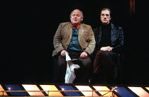 THE REAL INSPECTOR HOUND   by Tom Stoppard   design: Bill Dudley   lighting: David Hersey   director: Tom Stoppard   l-r: Roy Kinnear (Birdboot), Edward Petherbridge (Moon)  Olivier Theatre / Natio...