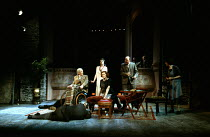 THE REAL INSPECTOR HOUND   by Tom Stoppard   design: Martin Sutherland   lighting: Jenny Cane   director: Roger Smith   characters - foreground: corpse   centre, l-r:  Major Magnus Muldoon, Felicity...