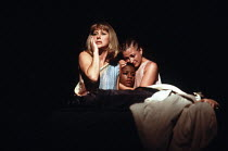 ANTONY AND CLEOPATRA   by Shakespeare   design: Nadine Baylis   lighting: Leo Leibovici   director: Adrian Noble ~l-r: Helen Mirren (Cleopatra), Josette Simon (Iras), Sorcha Cusack (Charmian)~Royal Sh...