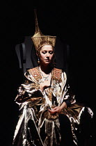 ANTONY AND CLEOPATRA   by Shakespeare   design: Nadine Baylis   lighting: Leo Leibovici   director: Adrian Noble ~placing asp in bosom: Helen Mirren (Cleopatra) ~Royal Shakespeare Company (RSC) / The...