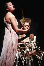 ANTONY AND CLEOPATRA   by Shakespeare   design: Nadine Baylis   lighting: Leo Leibovici   director: Adrian Noble ~with the dead Queen - l-r: Sorcha Cusack (Charmian), Helen Mirren (Cleopatra) ~Royal S...