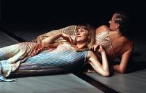 ANTONY AND CLEOPATRA   by Shakespeare   design: Nadine Baylis   lighting: Leo Leibovici   director: Adrian Noble ~l-r: Helen Mirren (Cleopatra), Sorcha Cusack (Charmian)~Royal Shakespeare Company (RSC...