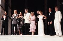 ROMEO AND JULIET   by Shakespeare   design: Chris Dyer   lighting: Chris Ellis   director: Michael Bogdanov ~front centre: Richard Moore (Capulet), Anna Nygh (Lady Capulet), Niamh Cusack (Juliet)   ri...