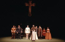 MUCH ADO ABOUT NOTHING   by Shakespeare   design: Alison Chitty   lighting: Stephen Wentworth   director: Peter Gill    the wedding of Claudio & Hero - l-r: Michael Gambon (Benedick), Robert Swann (...