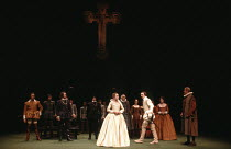 MUCH ADO ABOUT NOTHING   by Shakespeare   design: Alison Chitty   lighting: Stephen Wentworth   director: Peter Gill    Claudio denounces Hero: Tim Woodward (Claudio), Caroline Langrishe (Hero) Oli...