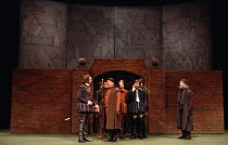 MUCH ADO ABOUT NOTHING   by Shakespeare   design: Alison Chitty   lighting: Stephen Wentworth   director: Peter Gill    front l-r: Robert Swann (Don Pedro), Brian Glover (Dogberry), Leonard Fenton (...