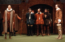 MUCH ADO ABOUT NOTHING   by Shakespeare   design: Alison Chitty   lighting: Stephen Wentworth   director: Peter Gill    front left: Frederick Treves (Leonato)   right: Tim Woodward (Claudio) Olivie...