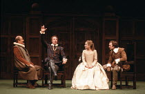 MUCH ADO ABOUT NOTHING   by Shakespeare   design: Alison Chitty   lighting: Stephen Wentworth   director: Peter Gill    l-r: Frederick Treves (Leonato), Robert Swann (Don Pedro), Caroline Langrishe...