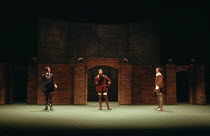 MUCH ADO ABOUT NOTHING   by Shakespeare   design: Alison Chitty   lighting: Stephen Wentworth   director: Peter Gill    l-r: Robert Swann (Don Pedro), Michael Gambon (Benedick), Tim Woodward (Claudi...