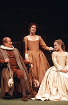 MUCH ADO ABOUT NOTHING   by Shakespeare   design: Alison Chitty   lighting: Stephen Wentworth   director: Peter Gill ~ ~l-r: Frederick Treves (Leonato), Penelope Wilton (Beatrice), Caroline Langrishe...