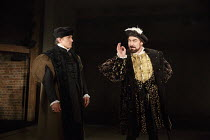 BRING UP THE BODIES   by Hilary Mantel   adapted by Mike Poulton   design: Christopher Oram   lighting: Paule David Plater   director: Jeremy Herrin   l-r: Ben Miles (Thomas Cromwell), Nathaniel Park...