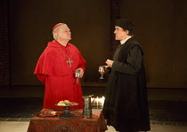 WOLF HALL   by Hilary Mantel   adapted by Mike Poulton   design: Christopher Oram   lighting: Paule Constable   director: Jeremy Herrin   l-r: Paul Jesson (Cardinal Wolsey), Ben Miles (Thomas Cromwe...