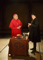 WOLF HALL   by Hilary Mantel   adapted by Mike Poulton   design: Christopher Oram   lighting: Paule Constable   director: Jeremy Herrin   l-r: Paul Jesson (Cardinal Wolsey), Ben Miles (Thomas Cromwel...