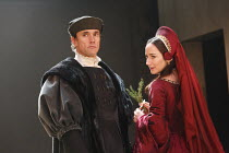 WOLF HALL   by Hilary Mantel   adapted by Mike Poulton   design: Christopher Oram   lighting: Paule Constable   director: Jeremy Herrin   Ben Miles (Thomas Cromwell), Lydia Leonard (Anne Boleyn)  R...