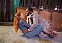 OTHELLO   by Shakespeare   set design: Libby Todd   costumes: Eleanor Bull   lighting: Will Ingham   director: Rebekah Fortune ~Gillian Saker (Desdemona), Stefan Adegbola (Othello)~Orangutan Productio...