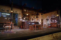 THE WEIR   by Conor McPherson   design: Tom Scutt   lighting: Neil Austin   director: Josie Rourke ~stage,set,empty,bar,pub,Ireland,Irish~Donmar Warehouse 2013 production / Wyndham's Theatre, London W...