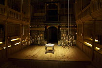 interior,stage,pit,auditorium,galleries,candelabra,candles,lantern,desk - candelabra in lowered position for lighting Sam Wanamaker Playhouse / Shakespeare's Globe (SG), London SE1   20/01/2014