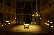 interior,stage,pit,auditorium,galleries,candelabra,candles,lantern,desk - stage right candelabra in lowered position for lighting Sam Wanamaker Playhouse / Shakespeare's Globe (SG), London SE1   20/0...