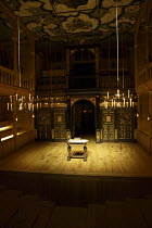 interior,stage,pit,auditorium,galleries,ceiling,candelabra,candles,lantern,desk Sam Wanamaker Playhouse / Shakespeare's Globe (SG), London SE1   20/01/2014