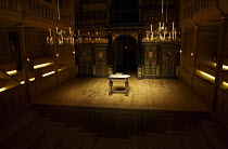 interior,stage,pit,auditorium,galleries,candelabra,candles,lantern,desk Sam Wanamaker Playhouse / Shakespeare's Globe (SG), London SE1   20/01/2014