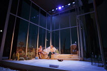 THE MISTRESS CONTRACT   by Abi Morgan   design: Merle Hensel   lighting: Natasha Chivers   director: Vicky Featherstone   stage,set,windows,glass,cactus,house,interior,USA,America Jerwood Theatre Do...