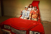 FEAR AND LOATHING IN LAS VEGAS   by Hunter S Thompson   adapted & directed by Lou Stein   l-r: Ed Hughes (Raoul Duke), Tom Moores (Hitchhiker), Rob Crouch (Dr. Gonzo) Vault Festival 2014 / The Vault...