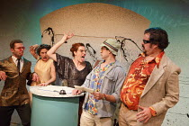 FEAR AND LOATHING IN LAS VEGAS   by Hunter S Thompson   adapted & directed by Lou Stein   (left) lizards with (right) l-r: Ed Hughes (Raoul Duke), Rob Crouch (Dr. Gonzo) Vault Festival 2014 / The Va...