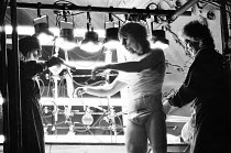 THE ROCKY HORROR SHOW   book, music & lyrics by Richard O'Brien   set design: Brian Thomson   costumes: Sue Blane   lighting: Gerry Jenkinson   director: Jim Sharman ~~l-r: Richard O'Brien (Riff Raff)...