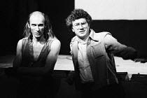 THE ROCKY HORROR SHOW   book, music & lyrics by Richard O'Brien   set design: Brian Thomson   costumes: Sue Blane   lighting: Gerry Jenkinson   director: Jim Sharman ~l-r: Richard O'Brien (Riff Raff a...