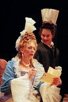 THE PROVOK'D WIFE   by Sir John Vanbrugh   set design: John Gunter   costumes: Laura Hopkins   lighting: Mark Henderson   director: Lindsay Posner   l-r: Alison Steadman (Lady Fancyfull), Janine Duvi...