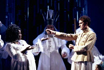 PERICLES - Prince of Tyre   by Shakespeare   design: Mark Thompson   lighting: Rick Fisher   director: Phyllida Lloyd   Joy Richardson (Thaisa), Douglas Hodge (Pericles)  Olivier Theatre / National...