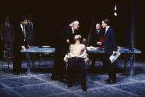 THE MERCHANT OF VENICE   by Shakespeare   design: Shelagh Keegan   lighting: Clive Morris   director: David Thacker   l-r: Mark Lockyer (Gratiano), David Calder (Shylock), Clifford Rose (Antonio), De...