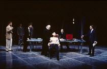 THE MERCHANT OF VENICE   by Shakespeare   design: Shelagh Keegan   lighting: Clive Morris   director: David Thacker  front left: Owen Teale (Bassanio), Mark Lockyer (Gratiano)   centre: David Calder (...